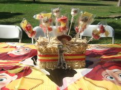"Love the hay centerpiece. Toy Story Jessie, Cowgirl / Birthday ""Lauren's 5th Birthday!"" 