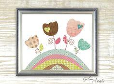 Baby nursery decor - nursery wall art - kids wall art - flowers nursery - blue brown and pink kids room decor - tulips - Les Tulipes