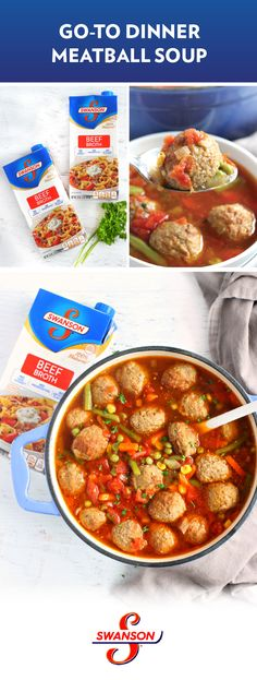 This Meatball Soup recipe sure knows how to bring the comfort food flavors Featuring homemade meatballs Italian seasonings and a base of Swanson Beef Broth its no wonder. Meat Recipes, Slow Cooker Recipes, Crockpot Recipes, Dinner Recipes, Cooking Recipes, Healthy Recipes, Dinner Ideas, Meatball Soup, Albondigas