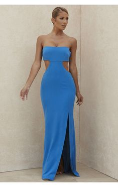 Clothing : Maxi Dresses : 'Altana' Blue Strapless Cut Out Maxi Dress