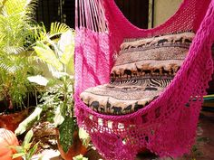 Fuchsia Sitting Hammock with Fringe Hanging Chair by hamanica, $44.00...getting this for my room! So excited!