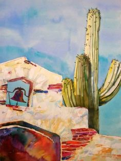 Desert Icons: Mission and Cactus, painting by artist Kay Smith