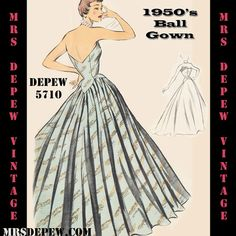 Vintage Sewing Pattern 1950's Ball Gown in Any Size by Mrsdepew, $9.50