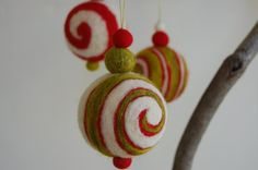 Needle felted Christmas jingle bell ornaments