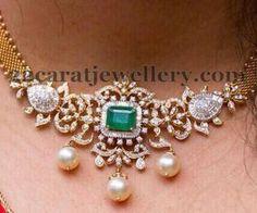 Diamond Necklace Simple Diamond necklace cum armlet/vanky - Latest Collection of best Indian Jewellery Designs. Diamond Necklace Simple, Diamond Pendant, Diamond Jewelry, Diamond Necklaces, Gold Jewelry, Diamond Choker, Jewelry Logo, Diamond Stud, Pearl Pendant