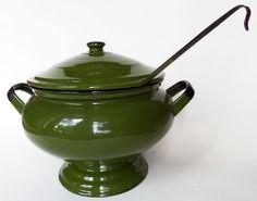 Vtg Olive Avocado Green & Black Enamelware Covered Tureen Pot & Ladle Set