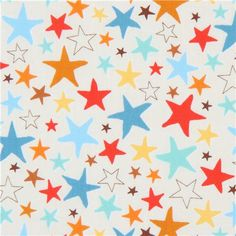 cream Robert Kaufman fabric red blue orange star Monsters 2