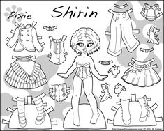Things to say about today's printable paper doll… It is my first Pixie paper doll in a while. She's two pages and has a distinctly steampunk inspired wardrobe. If you've been following this blog for a while, you might remember the sketchbook post back in April of 2013 when I showed off the inked version …