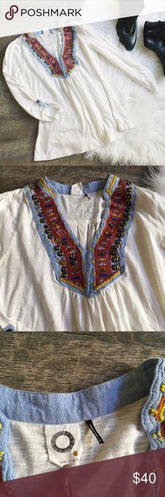 Anthropologie Akemi + Kin White Beaded Blouse Beautiful White beaded blouse from Anthropologie brand Akemi + Kin. Size small. Good condition. No trades! 🚫 Anthropologie Tops