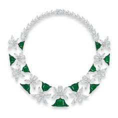 A MAGNIFICENT EMERALD AND DIAMOND 'PALMETTE' NECKLACE, BY EDMOND CHIN FOR THE HOUSE OF BOGHOSSIAN Designed as a series of eleven palmette motifs with circular-cut emerald detail, each set to the centre with a rectangular-cut emerald, weighing approximately 12.34 to 3.00 carats, alternating with vari-cut diamond foliate links, extending to the backchain, mounted in gold, 43.0 cm, in white leather Boghossian case With maker's mark for Boghossian. ESTIMATE USD 3,627,459 - USD 4,922,980