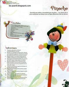 ARTE COM QUIANE - Paps,Moldes,E.V.A,Feltro,Costuras,Fofuchas 3D: Molde ponteira Pinóquio