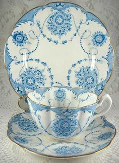 Antique Blue Transfer Cup And Saucer With Plate 1874 Greek