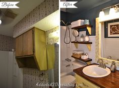 Small bathroom decorating ideas - open shelves in place of closed wall cabinet