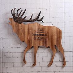 Wall Decor Wood Contemporary Wall Art Wood Color Elk Wooden Handicrafts 5637697 2017 – $82.99