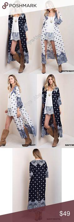Spotted while shopping on Poshmark: White duster cardigan boho PAISLEYS PRINT slit! #poshmark #fashion #shopping #style #Sweaters