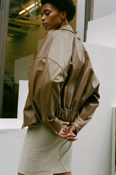 DREW JACKET, TEAK – Maryam Nassir Zadeh Rain Jacket, Bomber Jacket, Matilda, Teak, Windbreaker, Bodysuit, Leather, Jackets, How To Wear