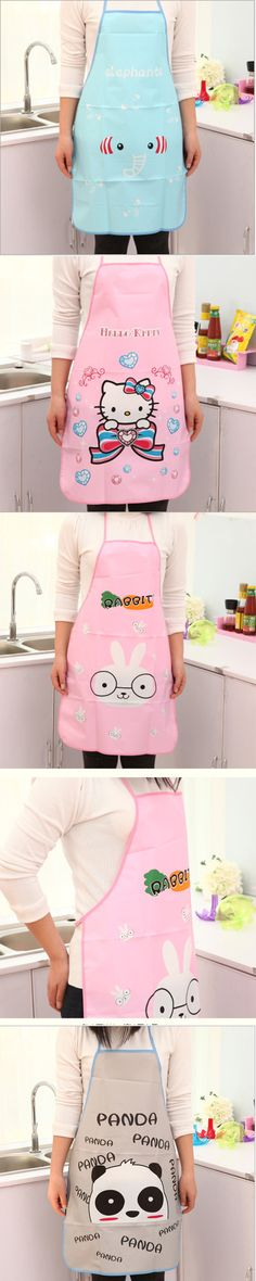 Waterproof Apron Cartoon Frog Printed Painting  for Chefs Kitchen Cooking Craft  Baking Home Cleaning Tool Accessories B08