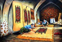 Art work ( painting ) of Dilshad Ismail born in Kifri Kurdistan, Art Portfolio, Figure Painting, Woven Rug, Painted Furniture, Art Drawings, Oriental, Texture, World