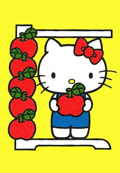 Hello kitty is 5 apples tall, how tall are you? I'm 14 apples
