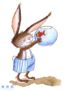 Bunny and his  goldfish by Sarah Emmanuelle Burg