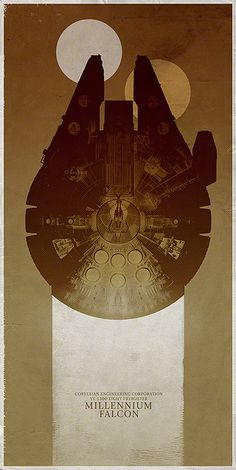 VERY cool and chic- would be great if framed and hung all together.  Series of 4 Fan Made STAR WARS Ship Poster Series — GeekTyrant
