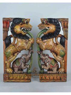 Multicolour yaazhi with elephant wooden wall Brackets Wood Crown Molding, Door Brackets, Wooden Elephant, Dark Wax, Wooden Walls, Interior Design Kitchen, Beautiful Birds, Homes