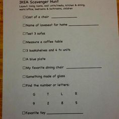 IKEA kids scavenger hunt