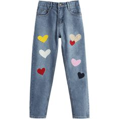 Heart Patched Zipper Fly Jeans (120 MYR) ❤ liked on Polyvore featuring jeans