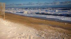 Snow on the beach at Kitty Hawk Jan. 2014  Miss you Carolina