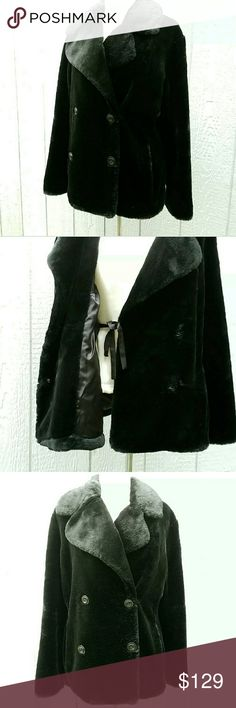 "Calvin Klein Black Faux Fur Waist Jacket Coat Calvin Klein Black Faux Fur Waist Jacket Coat   Size Large Used Once  Measurements: Chest (armpit to armpit)- 23"" Length (bottom of collar to tail)- 26"" Sleeve (shoulder seam to cuff)- 26"" Calvin Klein Jackets & Coats Capes"