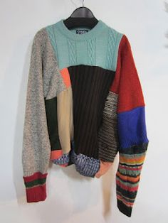 Patchwork Men's Sweater DIYi Up-cycled Clothing Diy Fashion, Love Fashion, Fashion Outfits, Rare Clothing, Recycled Sweaters, Recycled Fashion, Sweater Weather, Refashion, Diy Clothes
