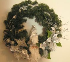 Father Christmas Wreath in Silver by stitchesandstuff on Etsy, $48.00
