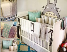 Totoro themed baby's room with fabrics from spoonflower.com