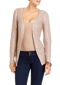 2b   Sequin Open Front Sweater - View All