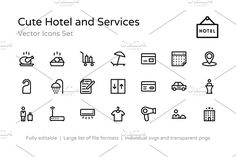 100+ Cute Hotel and Services Icons by ProSymbols on @creativemarket