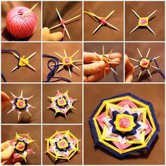 DIY Weave a Mandala Brooch with Toothpicks Or God's Eyes, and either cover toothpick ends with bead and glue or use blunt ended tiny craft sticks.