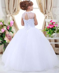 2016 First Communion Dresses For Girls A-line Cap Sleeves Tulle Flower Girl Dresses For Weddings Kids Beauty Pageant