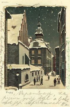 Old Postcard of Synagogue and Town Hall