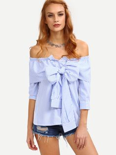 Shop Off-The-Shoulder Faux Sleeve-Tie Striped Top - Blue online. SheIn offers Off-The-Shoulder Faux Sleeve-Tie Striped Top - Blue & more to fit your fashionable needs.