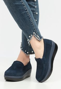 Mocasini piele naturala Ladyos Navy Slip On, Sneakers, Shoes, Fashion, Shoes Sandals, Slippers, Women, Tennis, Moda