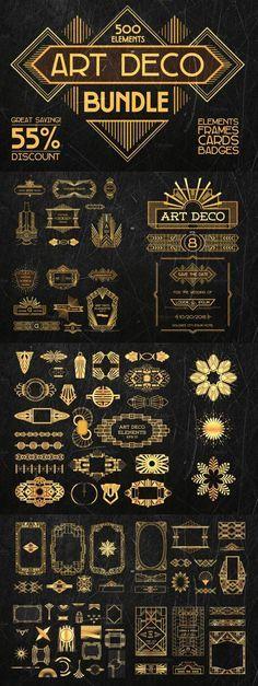 This bundle contains 500 elements: design elements, frames, greeting cards, badges, labels. #design Download: https://creativemarket.com/AnnaSivak/229156-Art-Deco-Bundle-500-elements?u=nexion