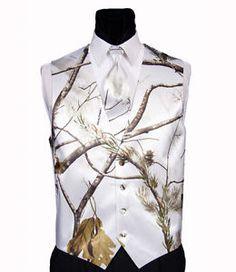 men's white camo tuxedo | ... Real-Tree-Snow-Tuxedo-vest-Long-tie-Full-Back-Camouflage-Camo-USA-Made