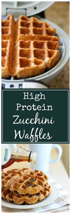 These taste just like zucchini bread + they're packed with 10 grams of protein! Make and freeze for healthy breakfasts!