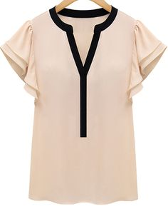 Pink Ruffle Short Sleeve V-neck Blouse 14.33
