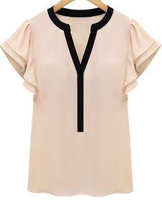 Pink Ruffle Short Sleeve V-neck Blouse
