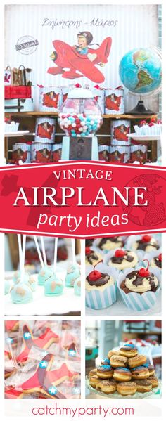 Take to the skies with this wonderful vintage airplane baptism. The desser table is gorgeous!! See more party ideas and share yours at CatchMyParty.com #partyideas #catchmyparty #airplanes #baptism #christening