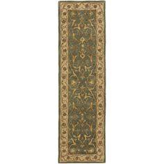 Safavieh Handmade Heritage Traditional Kashan Blue/ Beige Wool Runner (2'3 x 14')