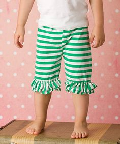 Just Couture Green Stripe Ruffle Shorts - Infant, Toddler & Girls | zulily