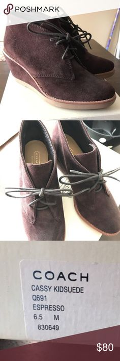 Coach Cassy Booties Beautiful expresso brown booties! Worn once Coach Shoes Ankle Boots & Booties