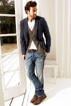 Layer a blazer over a cardigan and distressed jeans for a laid back, but polished look.